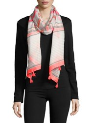 Collection 18 Striped Tassel Scarf Pink
