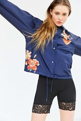Silence And Noise Celia Floral Coach Jacket Navy