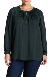 14Th And Union Peasant Blouse Plus Size Green