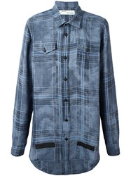 Off White Plaid Shirt Blue