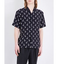 Gucci Anchor Print Regular Fit Silk Shirt Black White