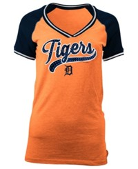 5Th And Ocean Women's Detroit Tigers Rhinestone Night T Shirt Orange Navy