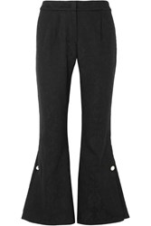 Mother Of Pearl Louie Faux Embellished Organic Cotton And Wool Blend Jacquard Flared Pants Black