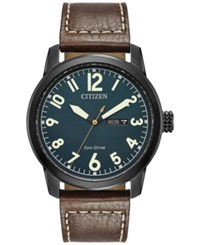 Citizen Men's Eco Drive Military Brown Leather Strap Watch 42Mm Bm8478 01L No Color