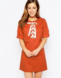Sister Jane Savannah Dress With Lace Up Front Rust Brown