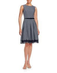 Tommy Hilfiger Belted Houndstooth Sleeveless Fit And Flare Dress Navy Black