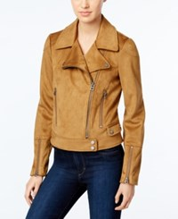 Lucky Brand Faux Suede Moto Jacket Cognac