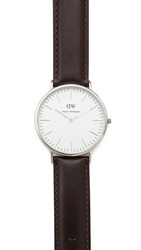 Daniel Wellington Bristol 40Mm Watch With Brown Leather Band Silver