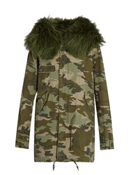Mr And Mrs Italy Camouflage Print Fur Trimmed Canvas Parka Khaki