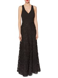 Gina Bacconi Chiffon Maxi Dress With Fancy Skirt Black