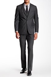 Kenneth Cole Reaction Mid Grey Sharkskin Two Button Notch Lapel 3 Piece Suit Gray