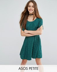 Asos Petite Short Sleeve Bird Jacquard Flippy Mini Dress Dark Green