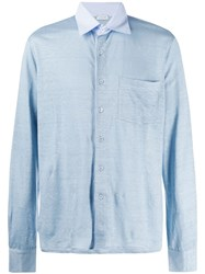 Caruso Lightweight Linen Shirt Blue