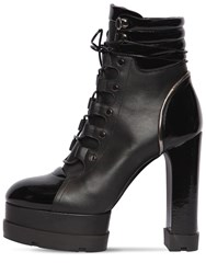 Casadei 90Mm Leather Hiking Boots Black