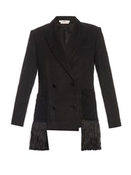 Edun Wool Twill Fringed Blazer Black