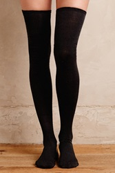 Hansel From Basel Dotted Thigh High Socks Black