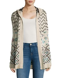 Design Lab Lord And Taylor Hooded Geometric Cardigan Oatmeal