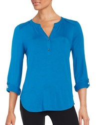 Lord And Taylor Petite Hi Lo Knit Blouse Mykonos Blue