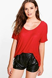 Boohoo V Neck Ribbed T Shirt Rust