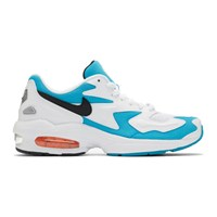 Nike White And Blue Max2 Light Sneakers