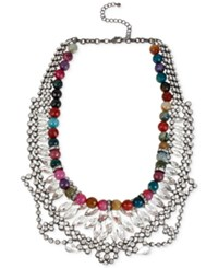 Macy's M. Haskell Hematite Tone Multicolored Bead And Crystal Frontal Necklace No Color
