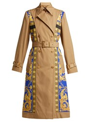 Versace Lovers Baroque Print Double Breasted Trench Coat Black Gold
