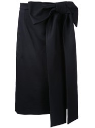 Holly Fulton Oversized Bow Straight Skirt Black