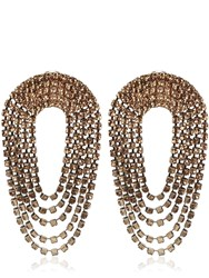 Alessandra Rich Crystal Draped Circle Clip On Earrings Gold