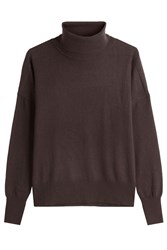 Closed Turtleneck Pullover With Wool And Cashmere Brown