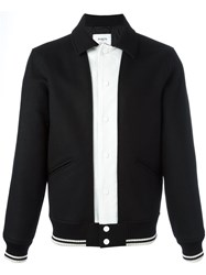 Ports 1961 Contrast Panel Bomber Jacket Black