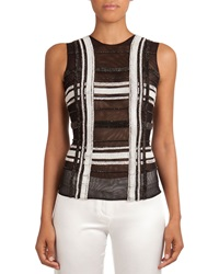 Balmain Sheer Beaded Grid Pattern Top