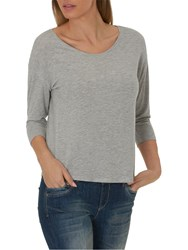 Betty And Co. Three Quarter Sleeve Jersey Top Light Silver Melange