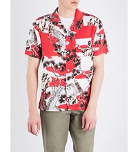 Stussy Falcon Print Spread Collar Woven Shirt Red