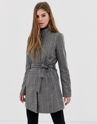 Only Lashley Checked High Neck Wrap Coat In Wool Blend Brown