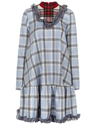 Anna K Pale Blue Wool Tartan Ruffle Dress Red