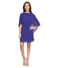 Vince Camuto Dress With Bateau Neckline And Cape Back Overlay Royal Women's Dress Navy