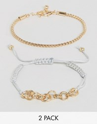 Asos Pack Of 2 Mesh Chain And Cord Bracelet Gold