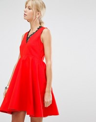 Sportmax Code Lauto Skater Dress Coral Red