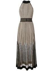 D.Exterior Striped Knitted Dress Gold
