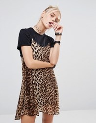 The Ragged Priest Leopard Cami Over T Shirt Dress Multi