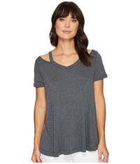 Culture Phit Lacey Short Sleeve Cut Out Top Charcoal Women's T Shirt Gray