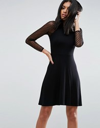 Asos Skater Dress With Spot Mesh Back Detail Black