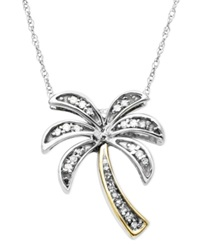 Macy's Diamond Pendant 14K Gold And Sterling Silver Diamond Palm Tree 1 10 Ct. T.W.