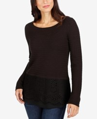 Lucky Brand Lace Contrast Sweater Jet Black