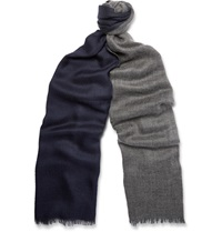 Loro Piana Duo Two Tone Cashmere And Silk Blend Scarf Gray