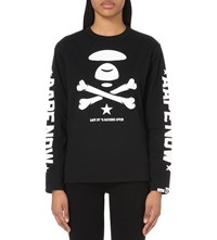 Aape By A Bathing Ape Logo Print Cotton Jersey Sweatshirt Black