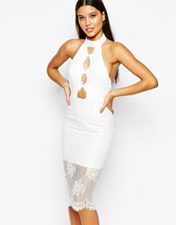 Love Triangle High Neck Lace Midi Knee Length Dress With Scalloped Hem White