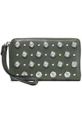 Versus By Versace Woman Studded Leather Wallet Leaf Green