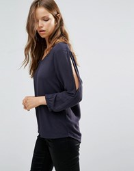 B.Young 3 4 Sleeve V Neck Top With Lace Detail Parisian Night Navy