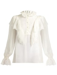 Dolce And Gabbana Ruffled Lace Chiffon Blouse White